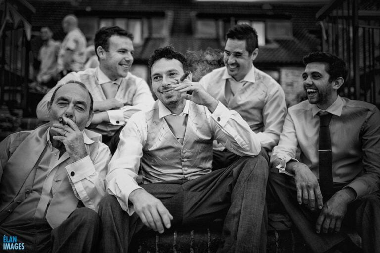 Cigar smoking at Cameley Lodge Wedding