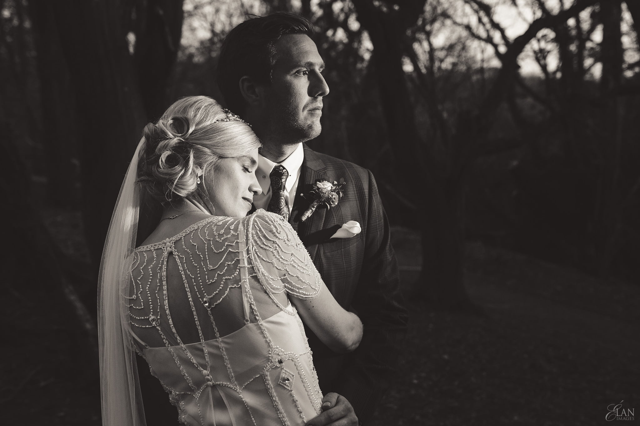 Black and white photo of the Bride and Groom during their Folly Farm Centre Wedding