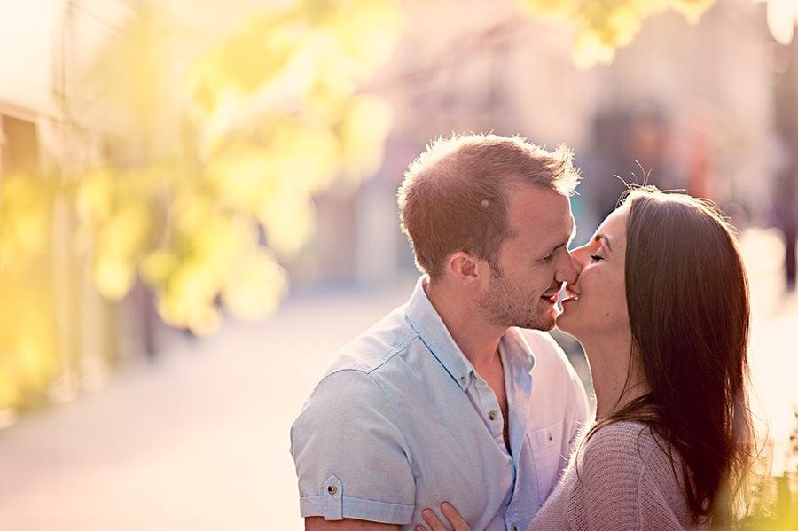 Bath Pre-wedding photography - couple kissing