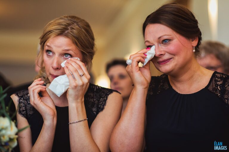 Bridesmaids emotion during a wedding at Coombe Lodge