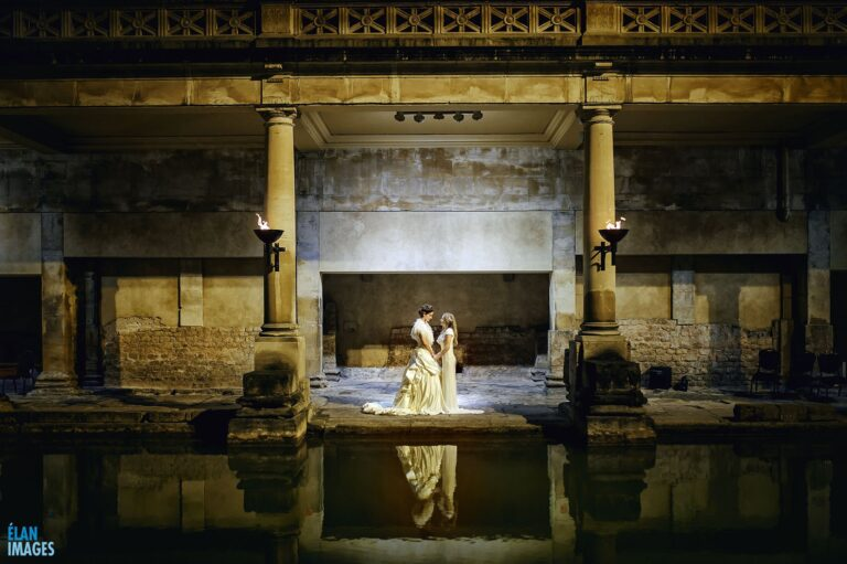 A stunning civil ceremony beside the Great Bath by torchlight