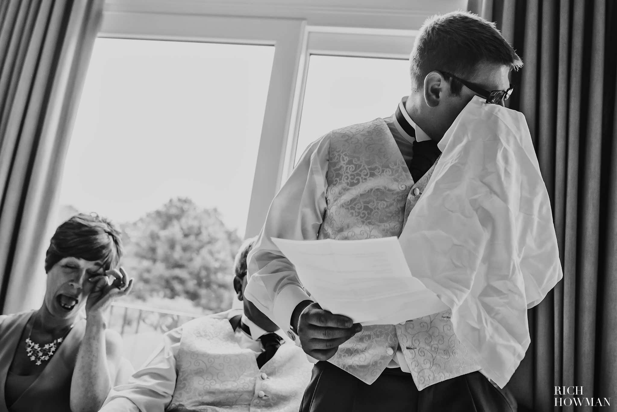Groom crying during the speeches at his wedding at the Centurion Hotel in Radstock, near Bath