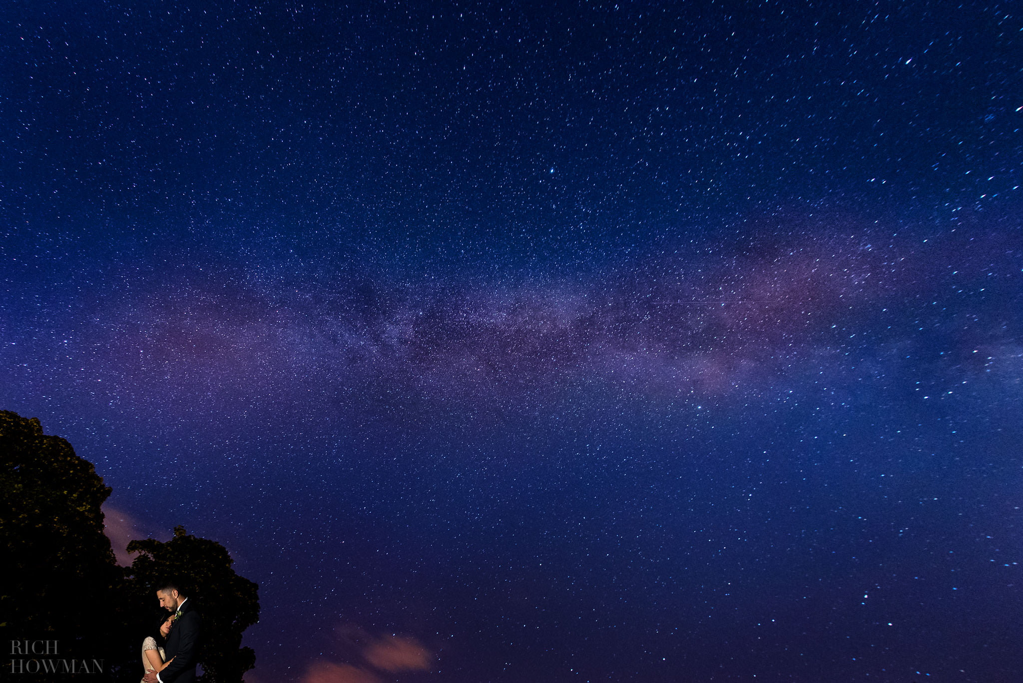 Bride and groom with the Milky Way and Stars Wedding Photo