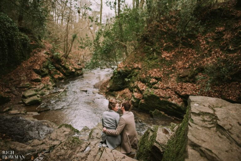 Woodland, waterfall engagement photo shoot