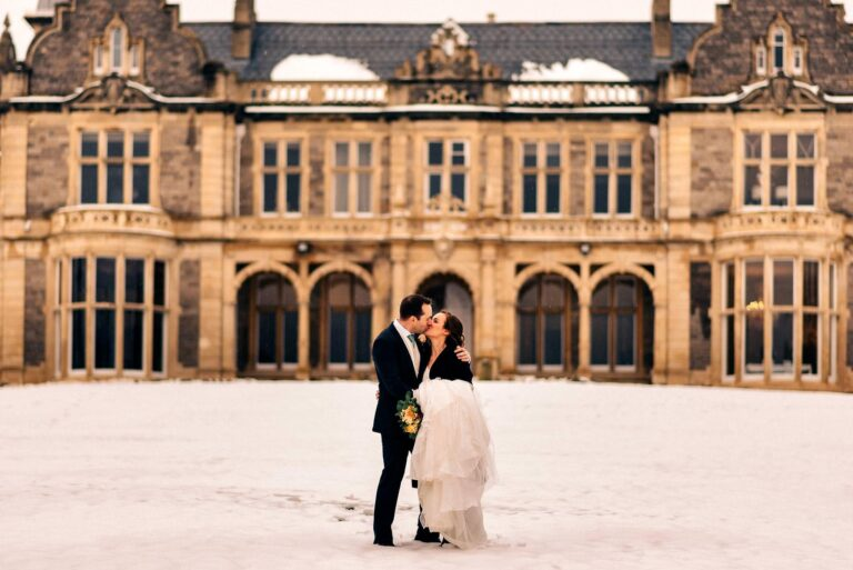 Winter Wedding in the Snow at Clevedon Hall in Somerset