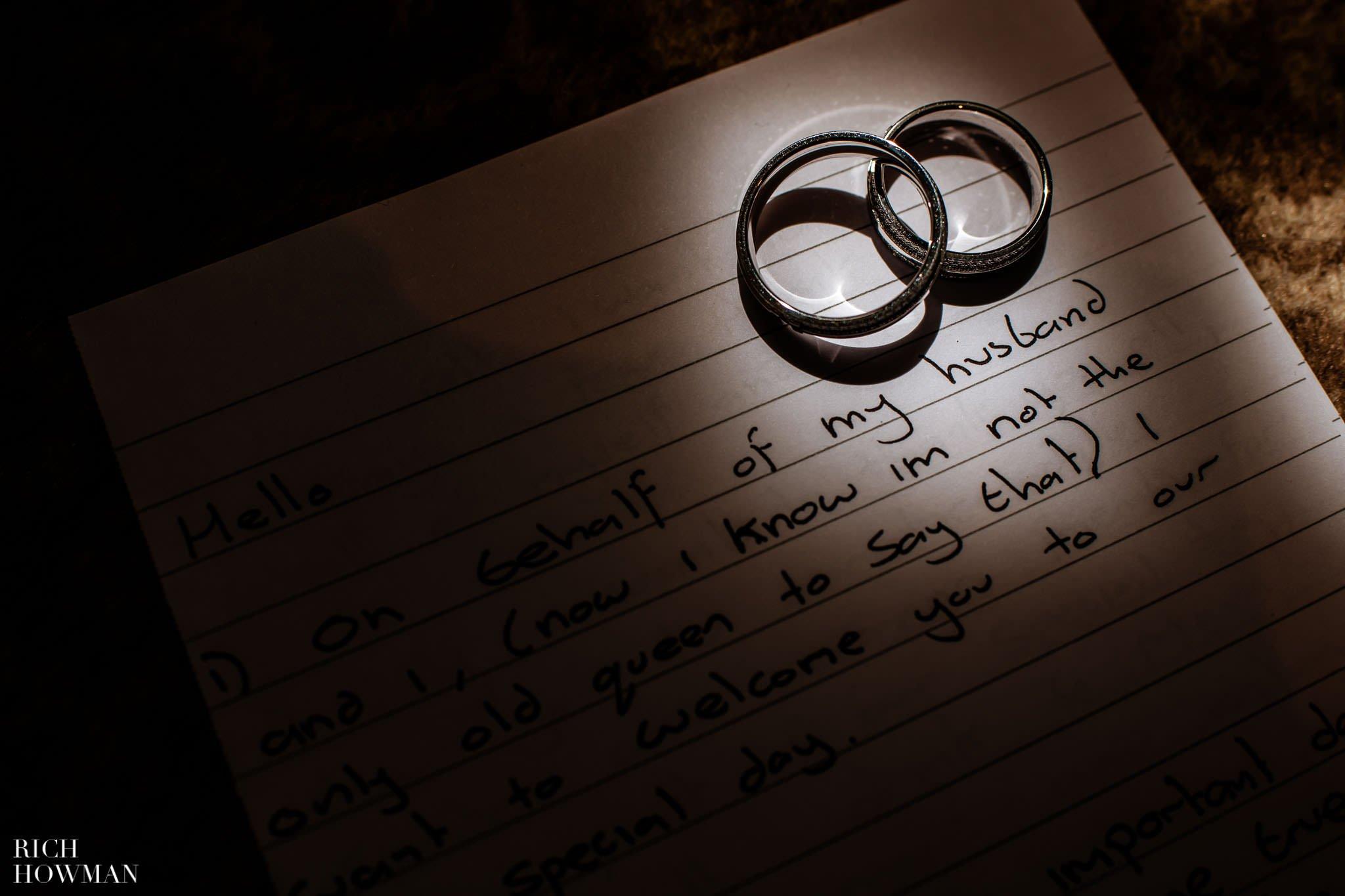 wedding rings on the corner of a handwritten speech captured by ellenborough park wedding photographer, Rich Howman