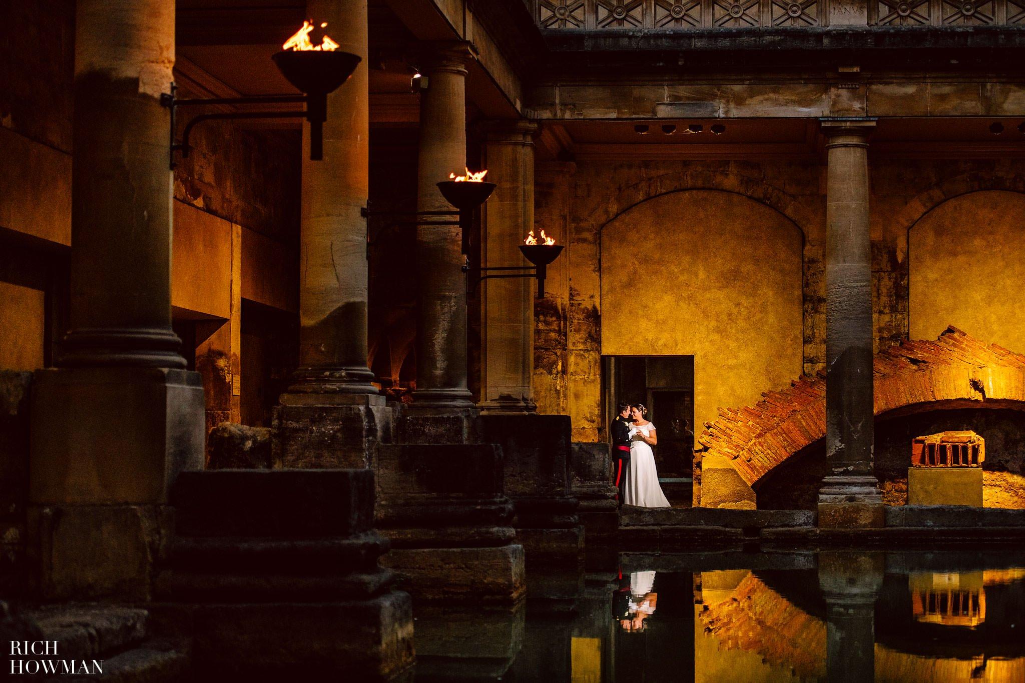 Sunset ceremony Roman Baths Wedding in Bath