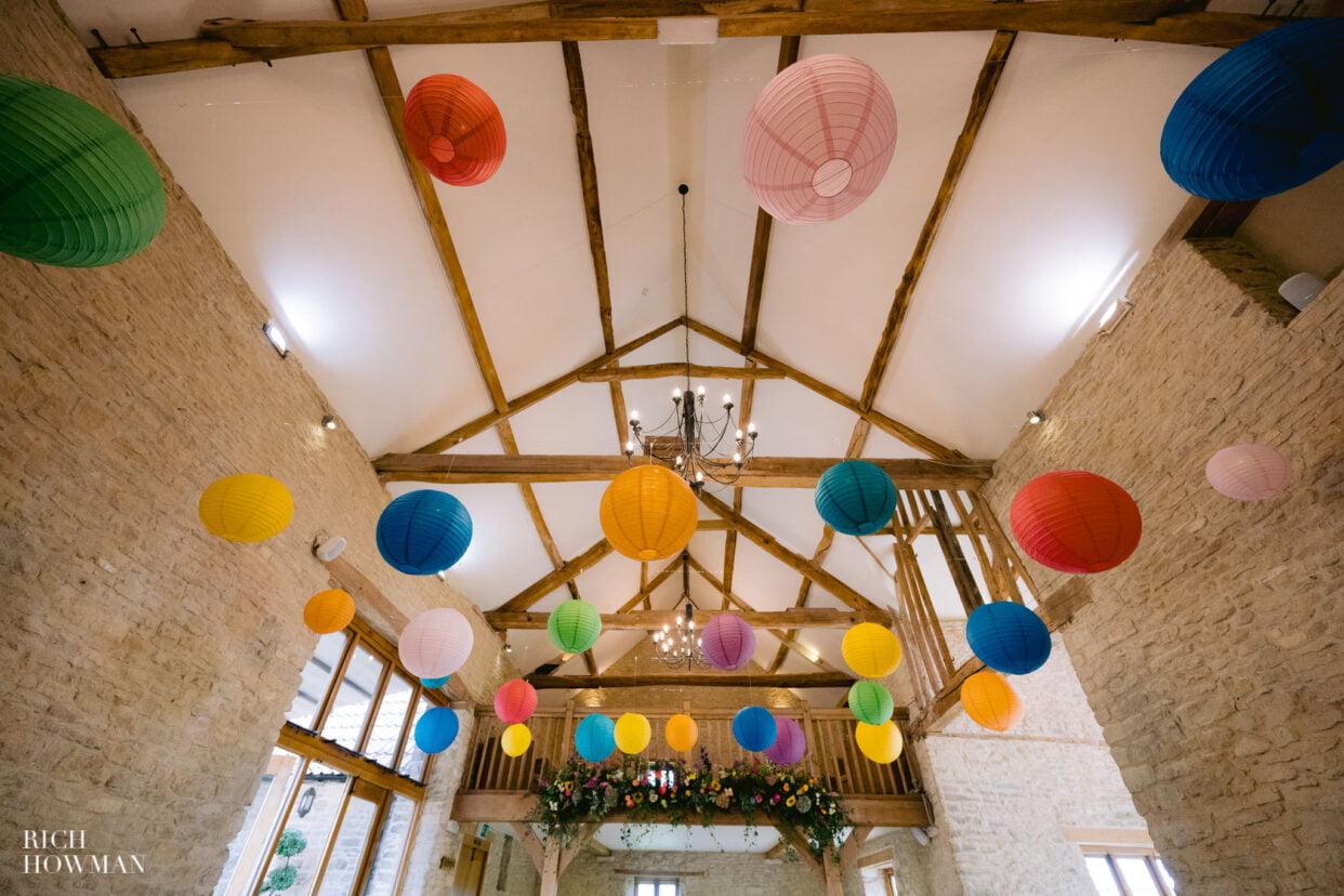 barn wedding hanging lanterns