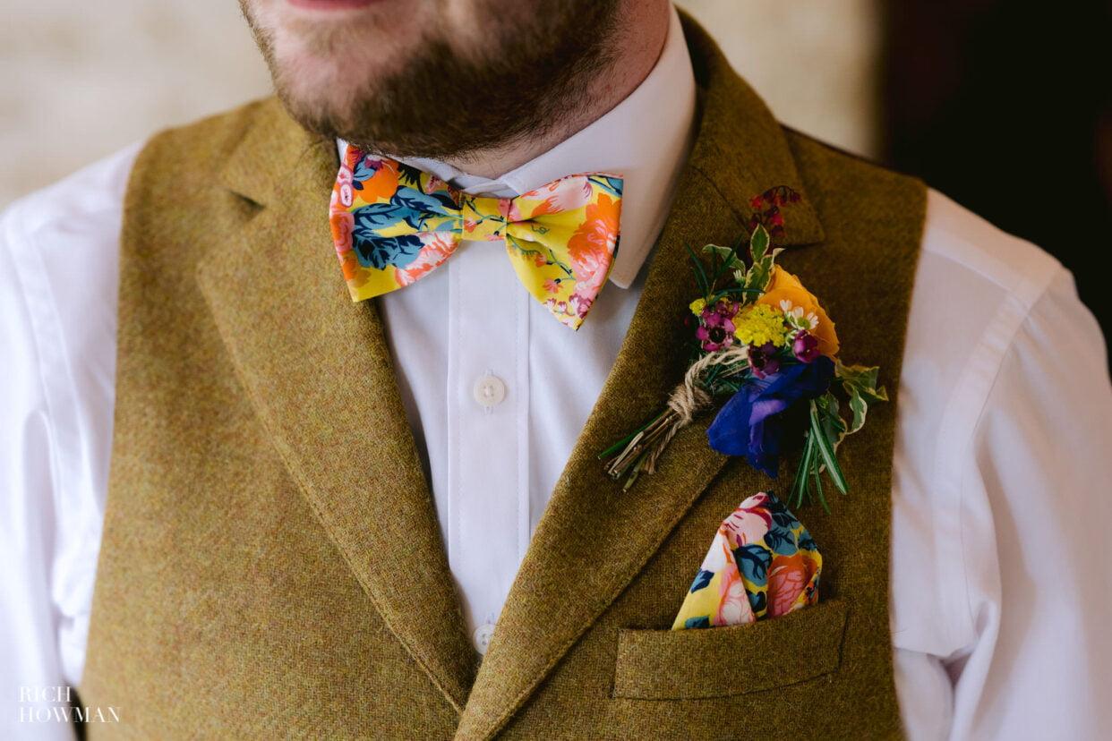 gloucestershire wedding photography groom bow tie