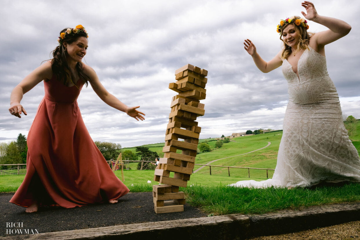 lawn games at barn wedding in gloucestershire