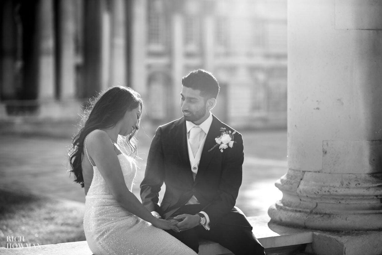 bride and groom at old royal naval college wedding