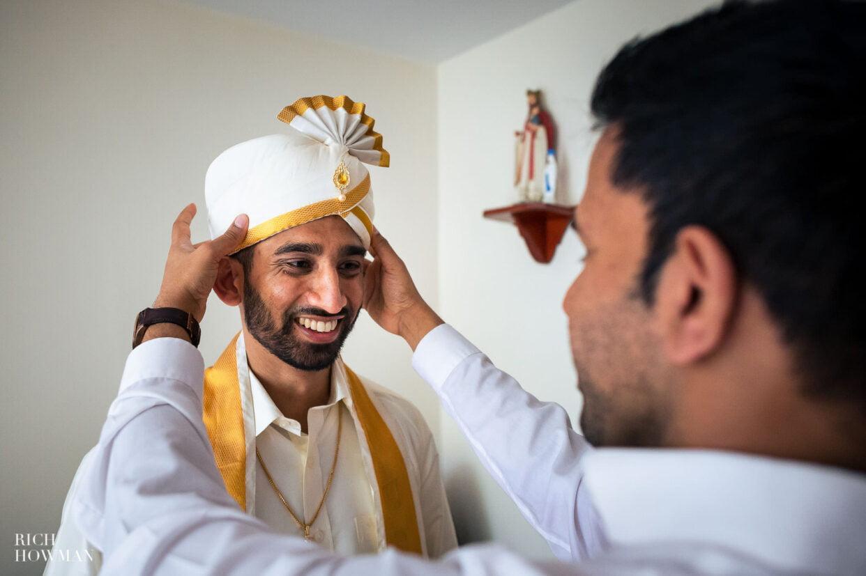groom preparation captured by tamil hindu wedding photographe