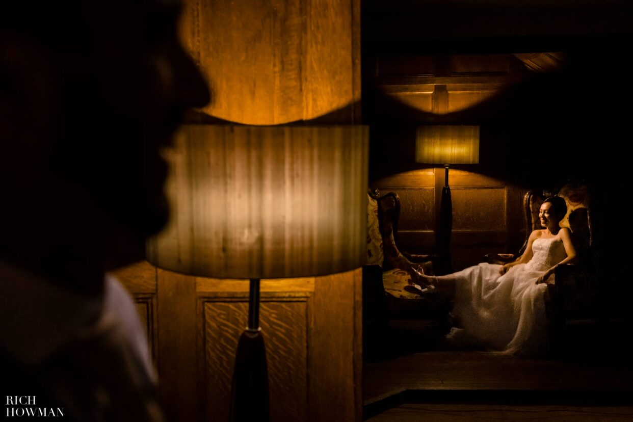 Manor House Castle Combe Wedding Photographer bride in billiard room